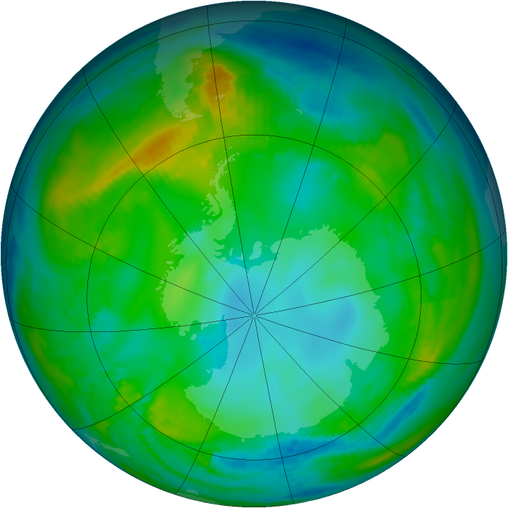 Antarctic ozone map for 19 May 1981