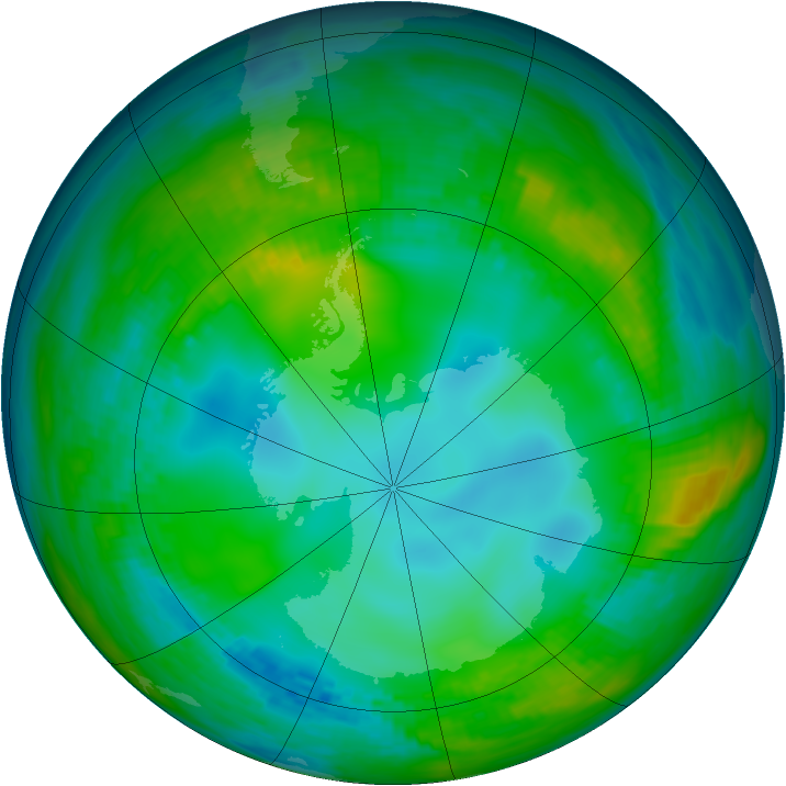 Antarctic ozone map for 22 May 1981