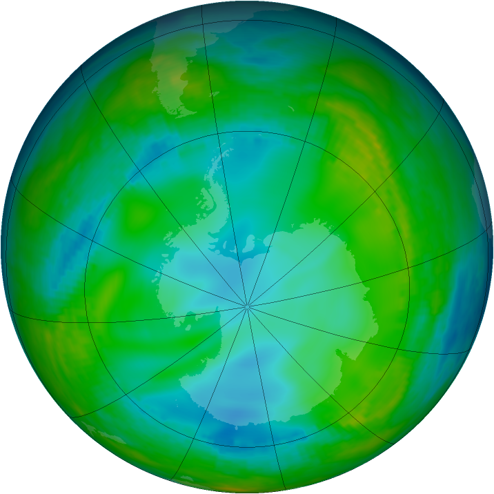 Antarctic ozone map for 31 May 1981