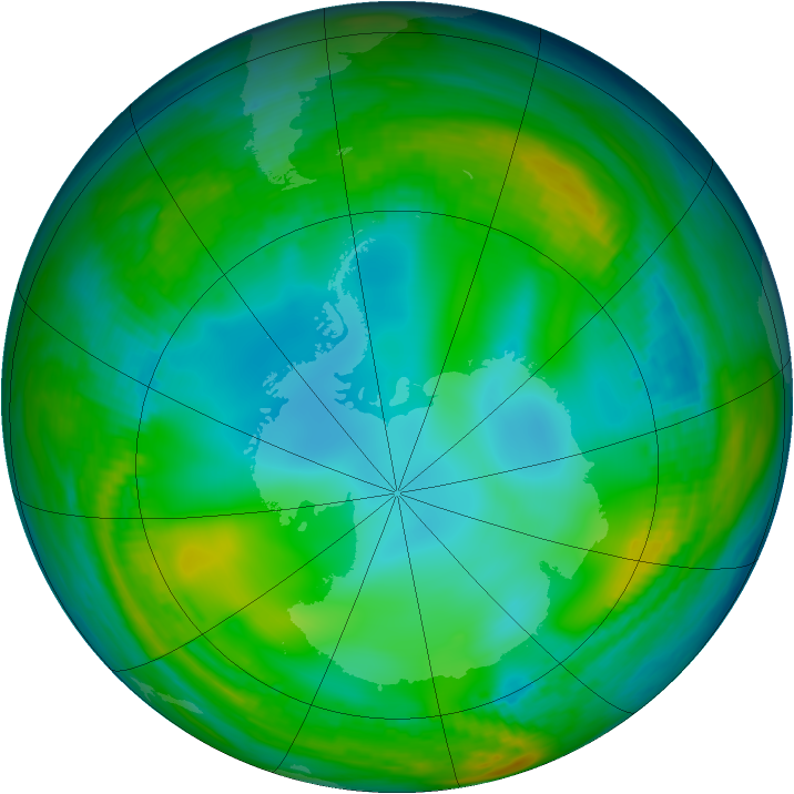 Antarctic ozone map for 07 June 1981