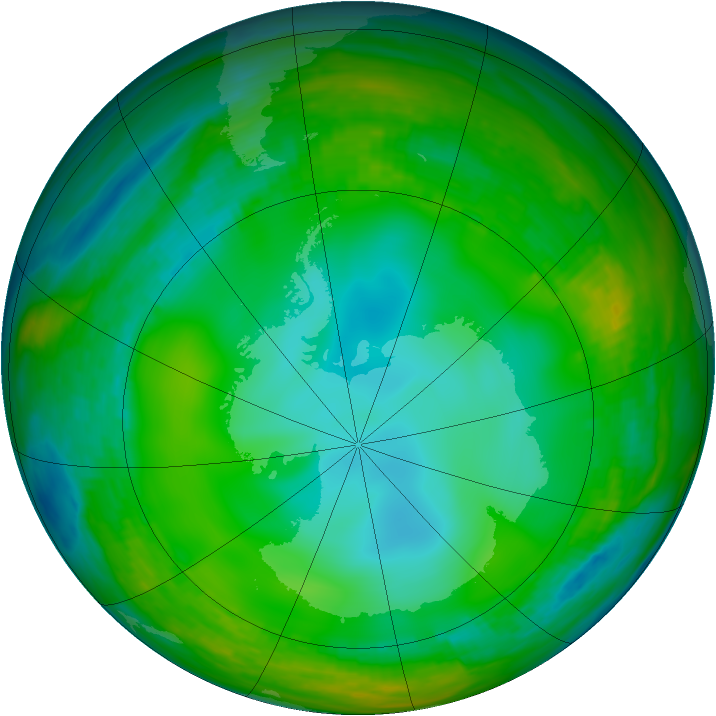 Antarctic ozone map for 29 June 1981