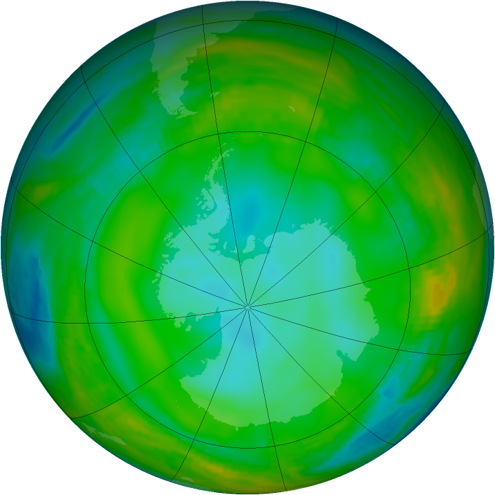 Antarctic ozone map for 30 June 1981
