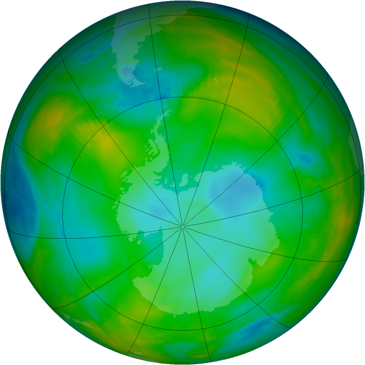 Antarctic ozone map for 02 July 1981