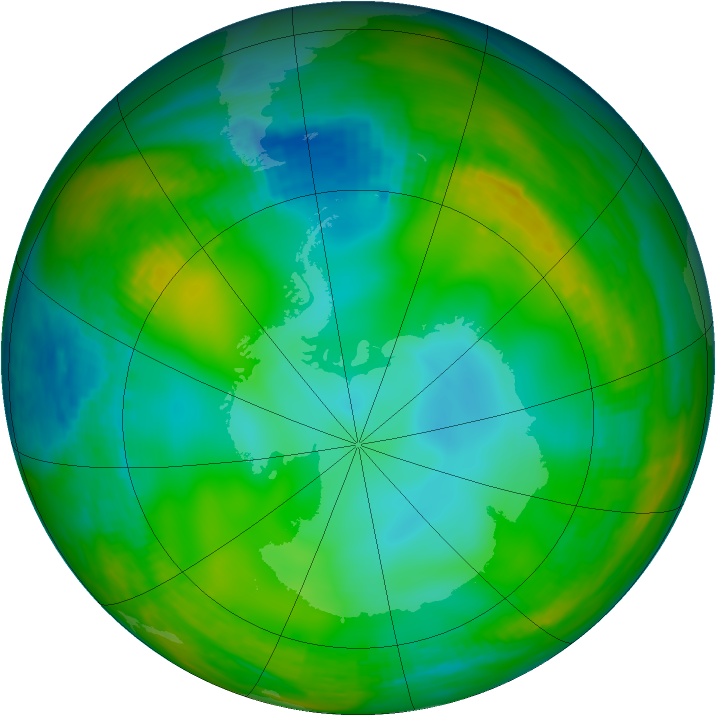 Antarctic ozone map for 03 July 1981