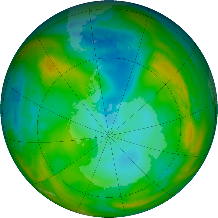 Antarctic ozone map for 04 July 1981