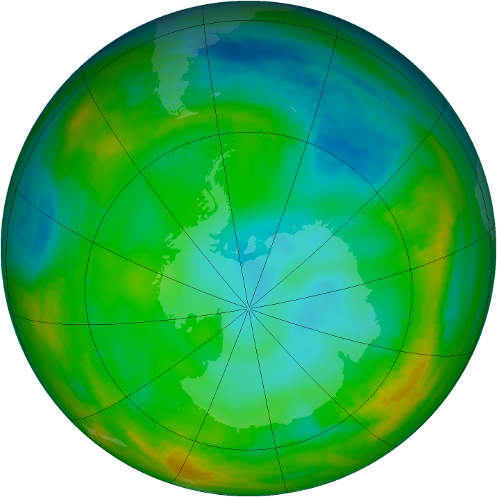 Antarctic ozone map for 06 July 1981