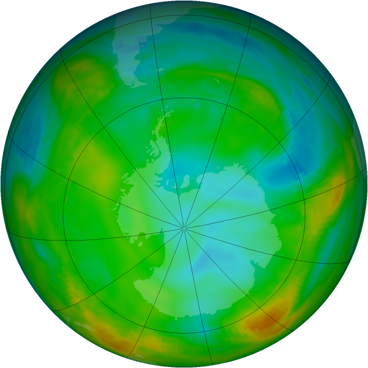 Antarctic ozone map for 07 July 1981