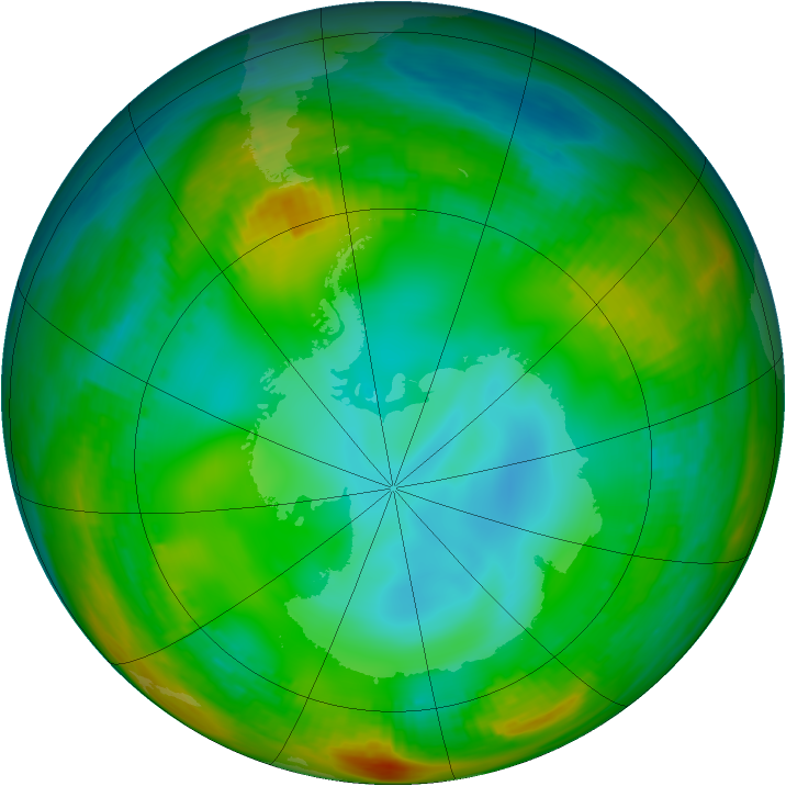 Antarctic ozone map for 10 July 1981