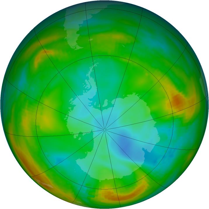 Antarctic ozone map for 13 July 1981