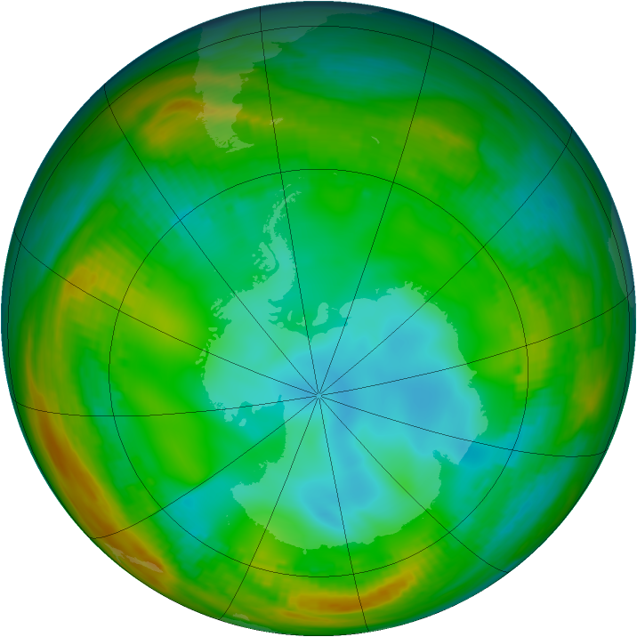 Antarctic ozone map for 14 July 1981