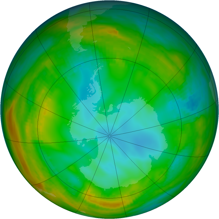Antarctic ozone map for 15 July 1981