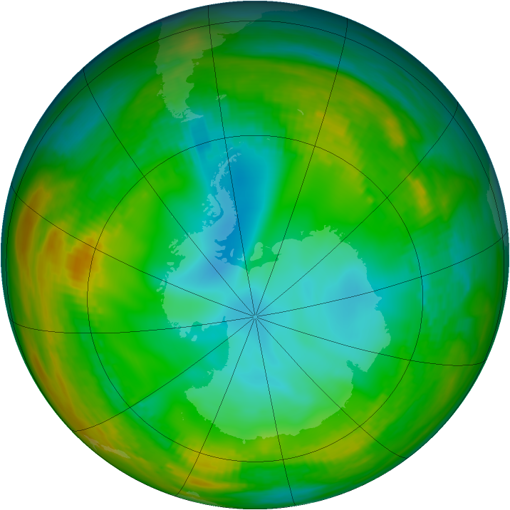 Antarctic ozone map for 16 July 1981