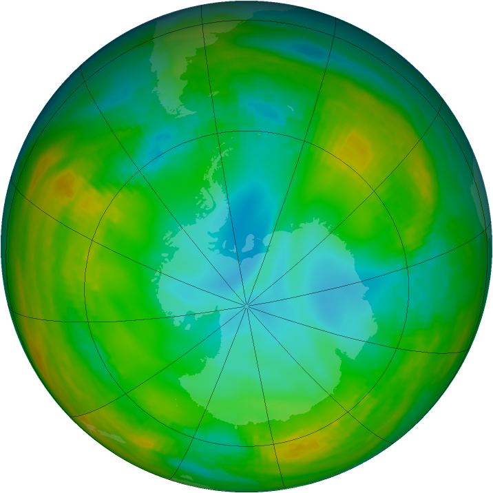 Antarctic ozone map for 17 July 1981