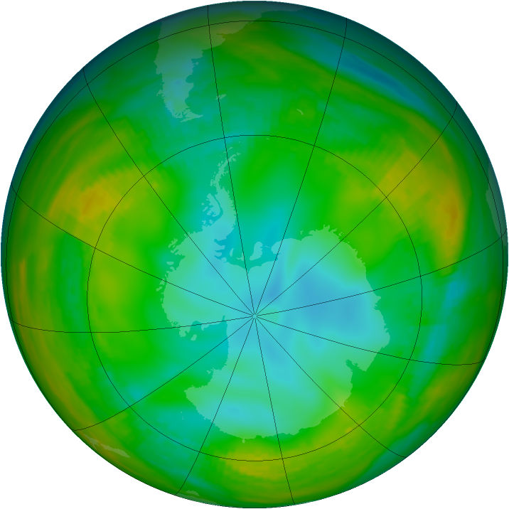 Antarctic ozone map for 18 July 1981