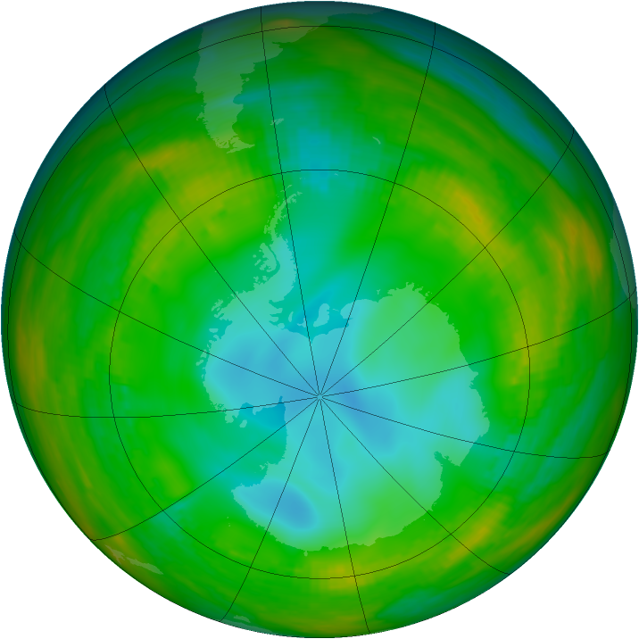Antarctic ozone map for 19 July 1981