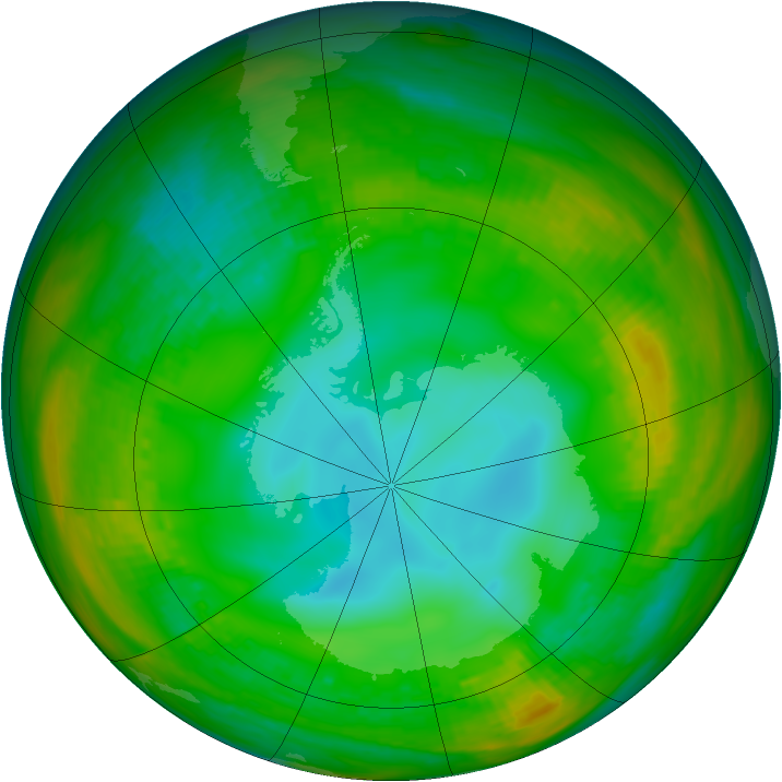 Antarctic ozone map for 21 July 1981