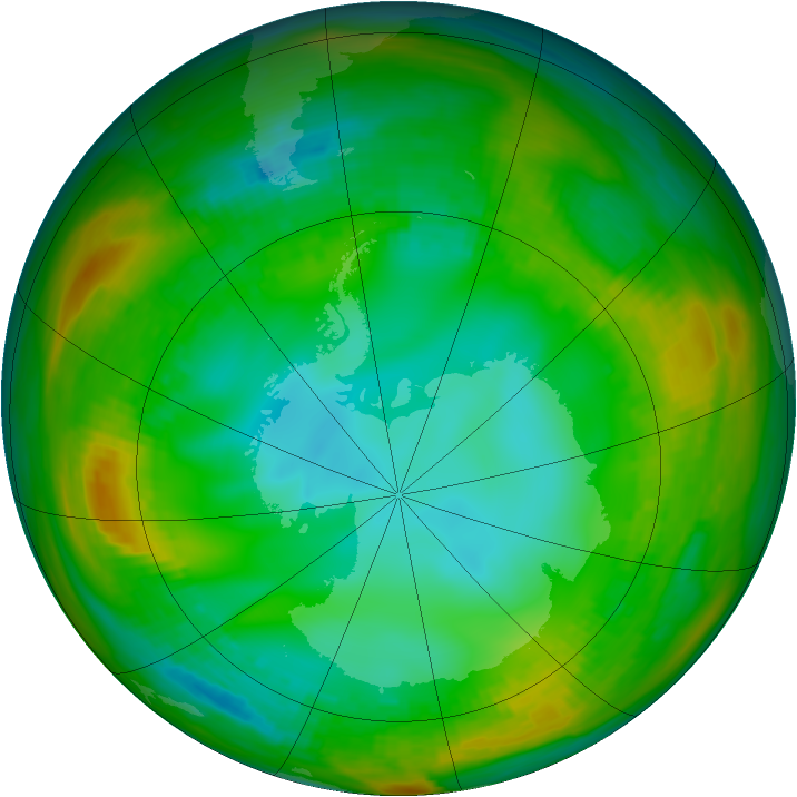 Antarctic ozone map for 23 July 1981