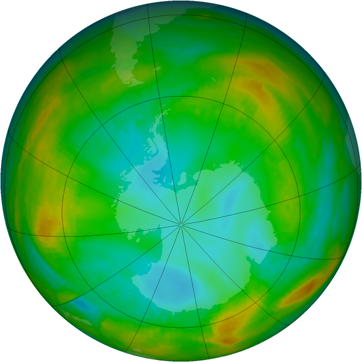 Antarctic ozone map for 26 July 1981