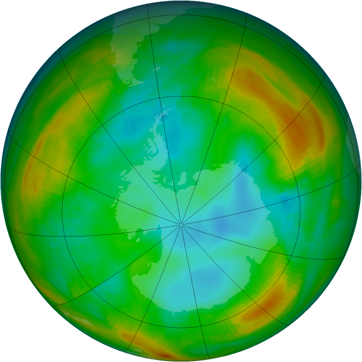 Antarctic ozone map for 28 July 1981
