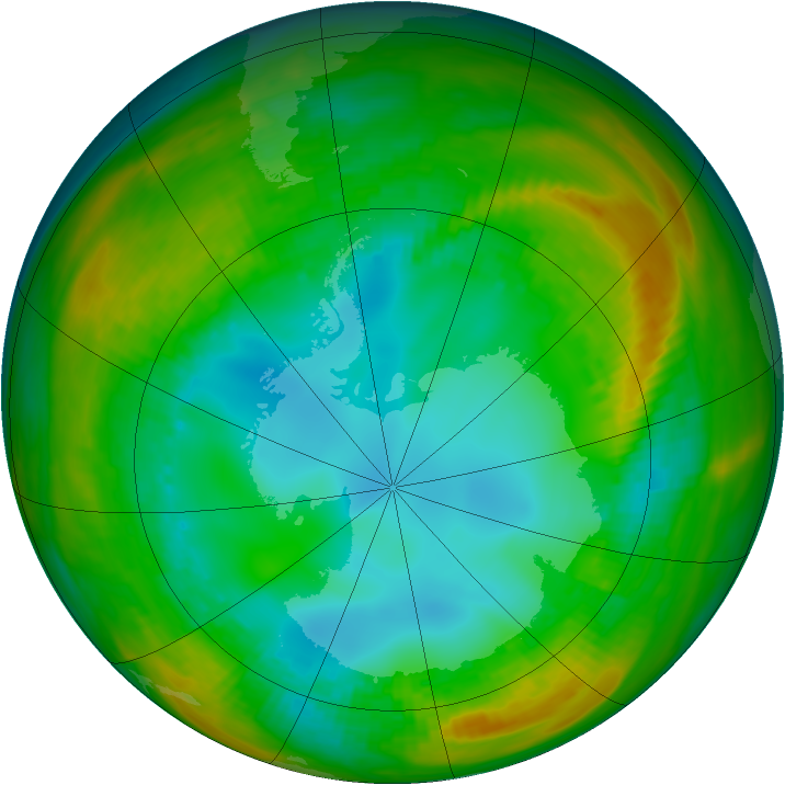 Antarctic ozone map for 30 July 1981
