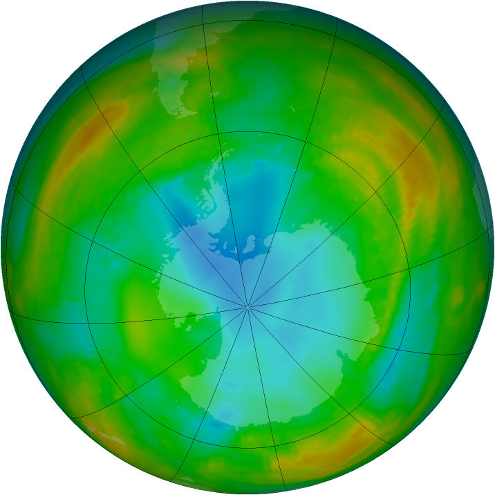 Antarctic ozone map for 31 July 1981