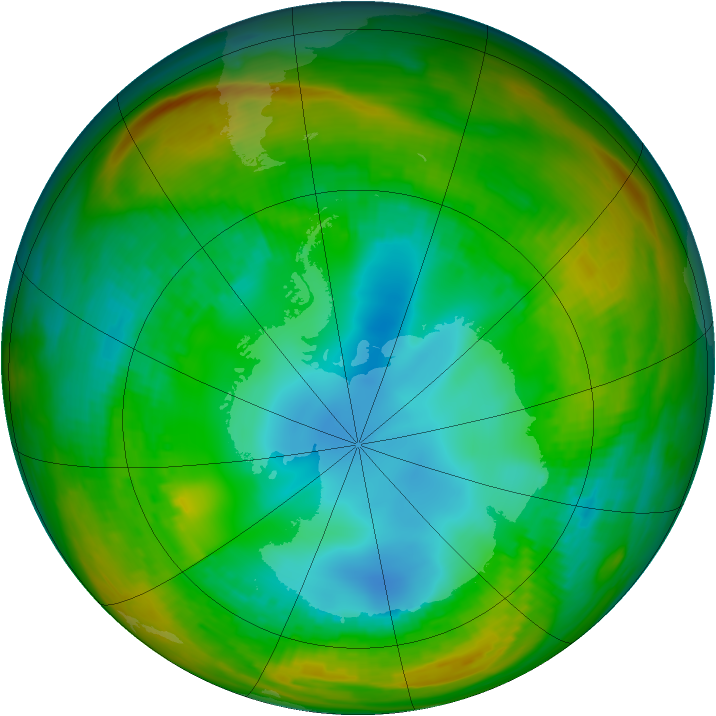 Antarctic ozone map for 02 August 1981