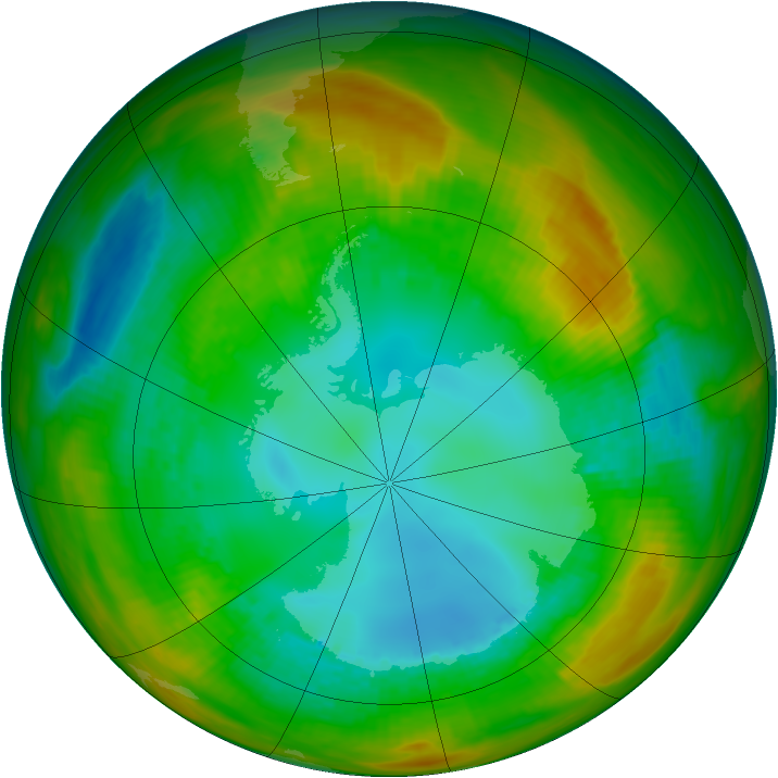 Antarctic ozone map for 11 August 1981