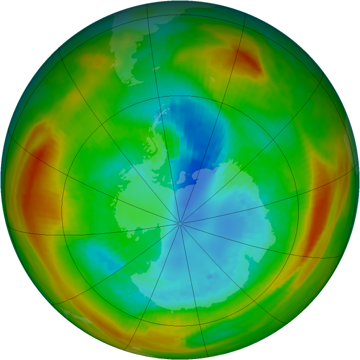 Antarctic ozone map for 31 August 1981