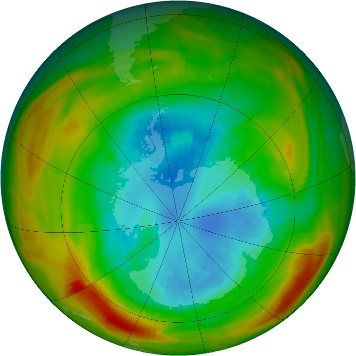 Antarctic ozone map for 04 September 1981