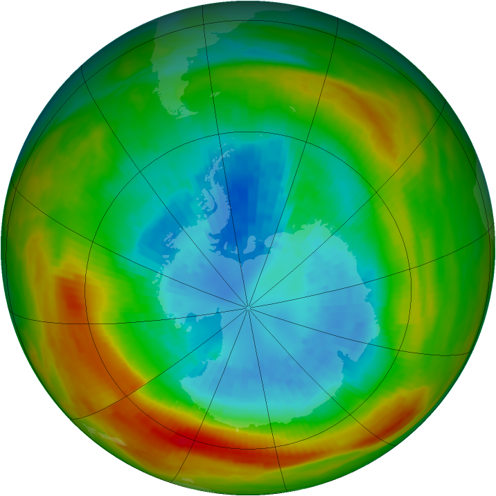 Antarctic ozone map for 12 September 1981