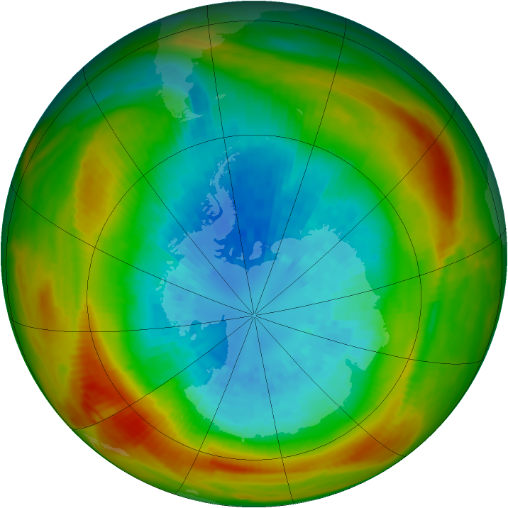 Antarctic ozone map for 14 September 1981