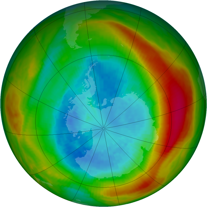 Antarctic ozone map for 20 September 1981