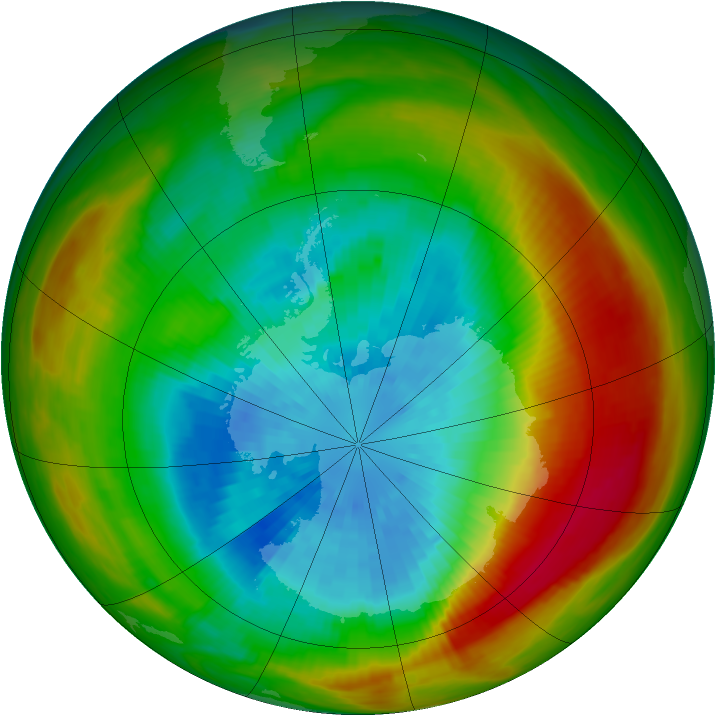 Antarctic ozone map for 22 September 1981