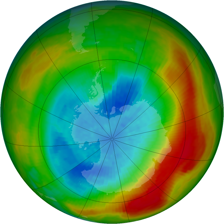 Antarctic ozone map for 24 September 1981