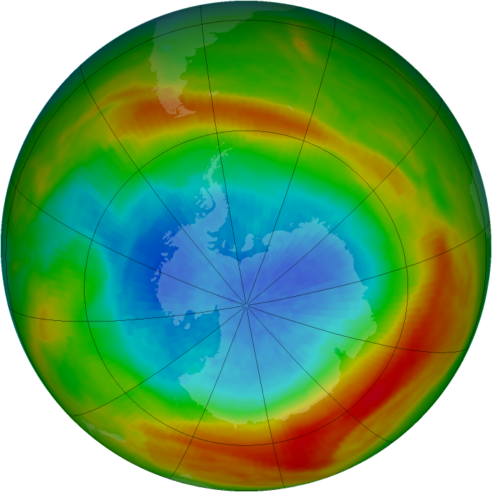 Antarctic ozone map for 01 October 1981