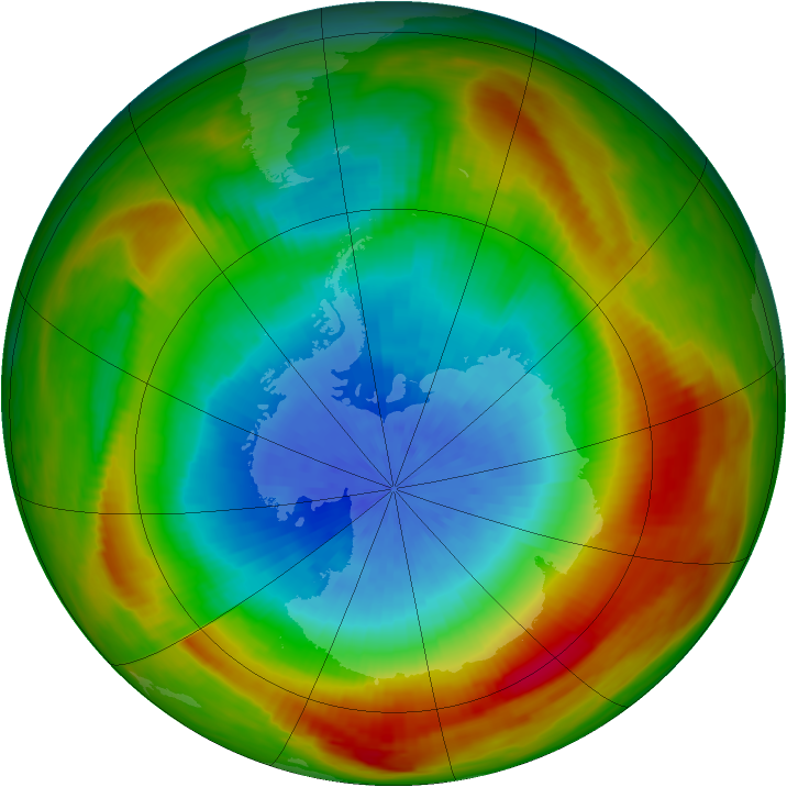 Antarctic ozone map for 09 October 1981
