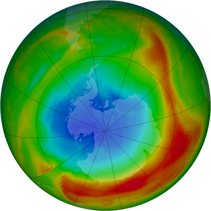 Antarctic ozone map for 10 October 1981