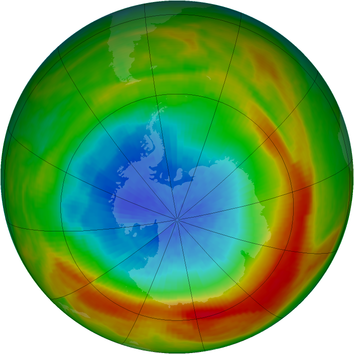 Antarctic ozone map for 11 October 1981