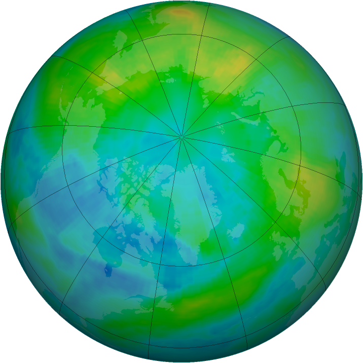 Arctic ozone map for 14 October 1981