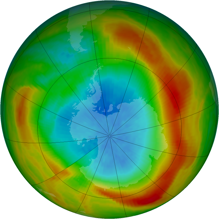 Antarctic ozone map for 16 October 1981