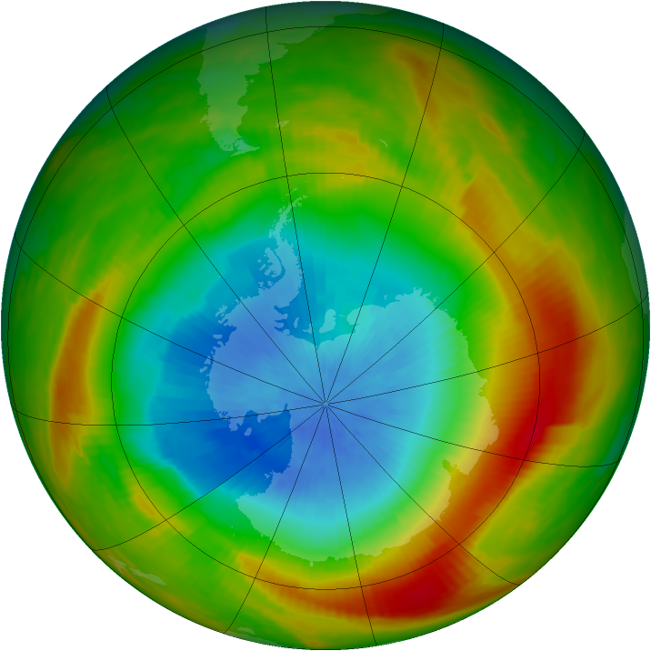 Antarctic ozone map for 18 October 1981