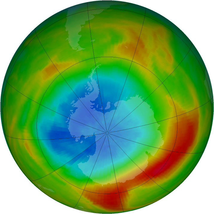 Antarctic ozone map for 19 October 1981