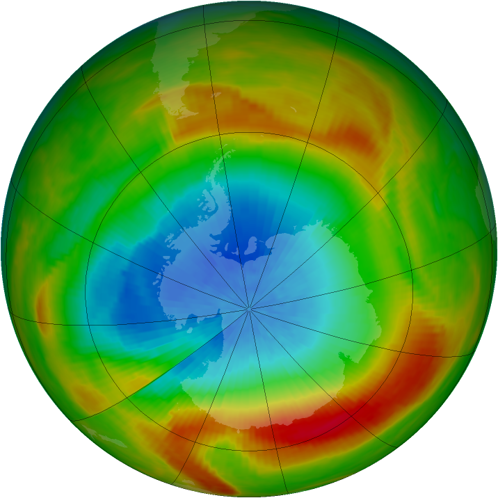 Antarctic ozone map for 20 October 1981