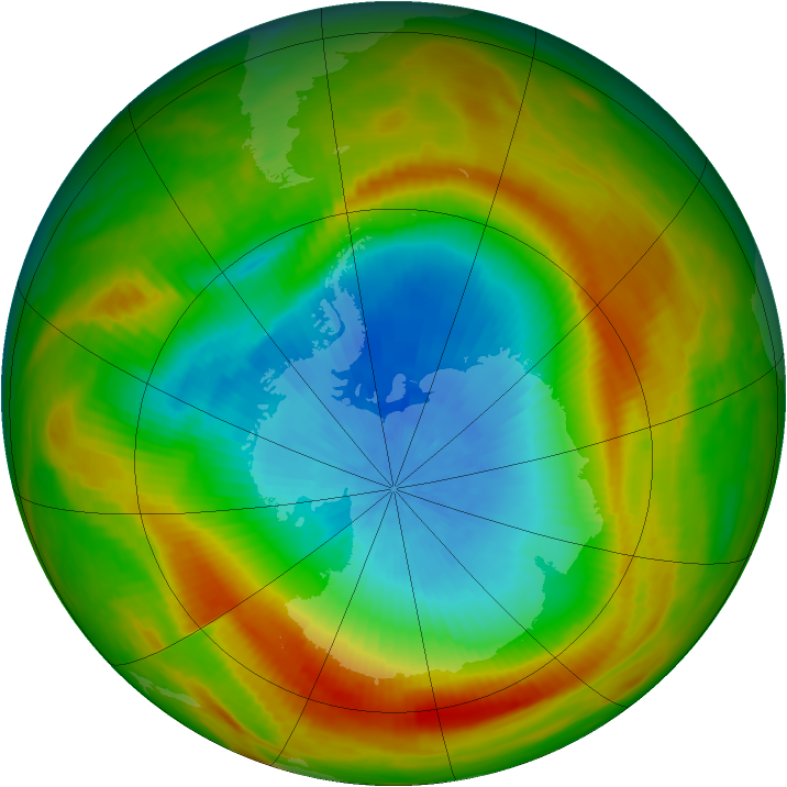 Antarctic ozone map for 22 October 1981