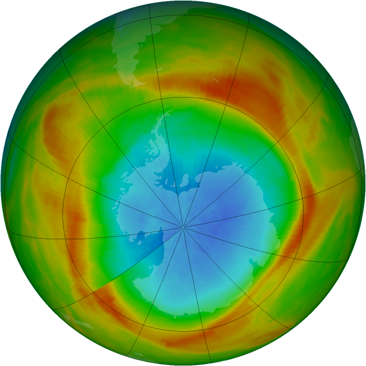 Antarctic ozone map for 24 October 1981