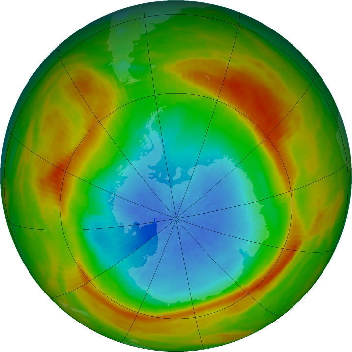 Antarctic ozone map for 25 October 1981