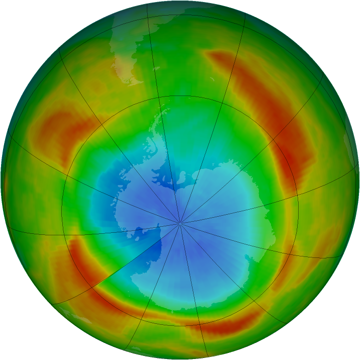 Antarctic ozone map for 26 October 1981