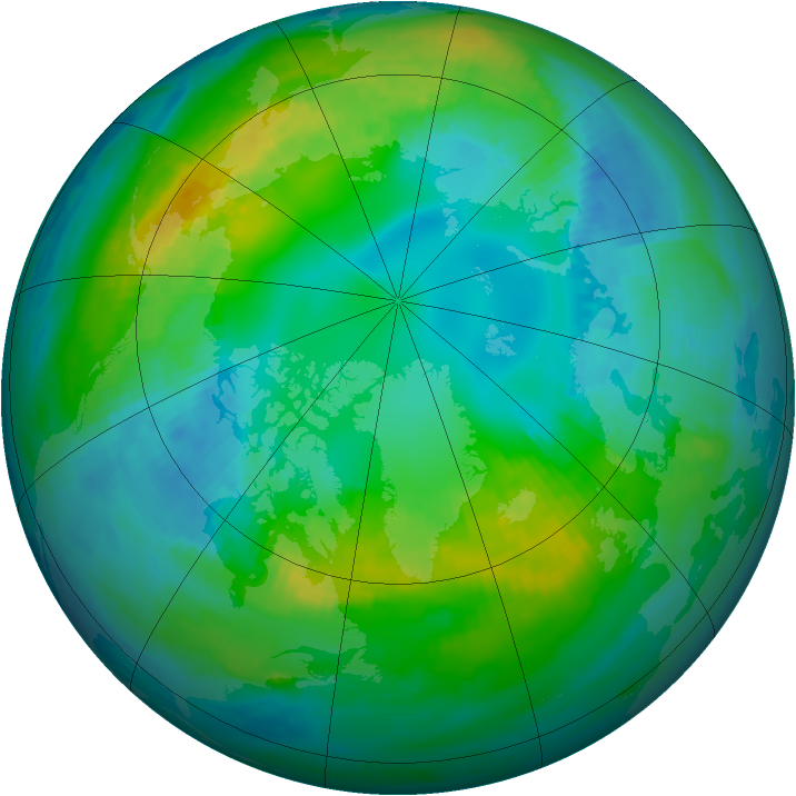 Arctic ozone map for 28 October 1981