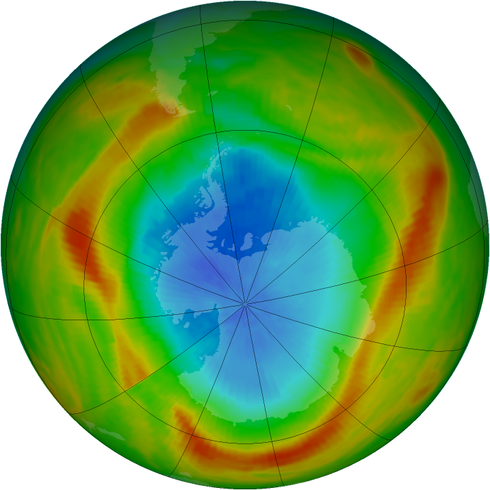 Antarctic ozone map for 28 October 1981
