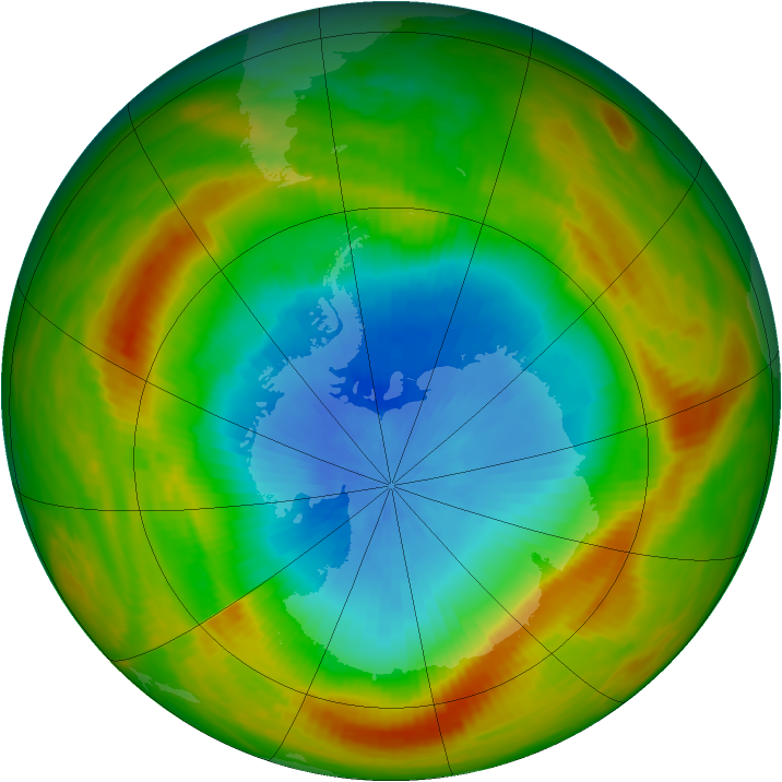 Antarctic ozone map for 29 October 1981